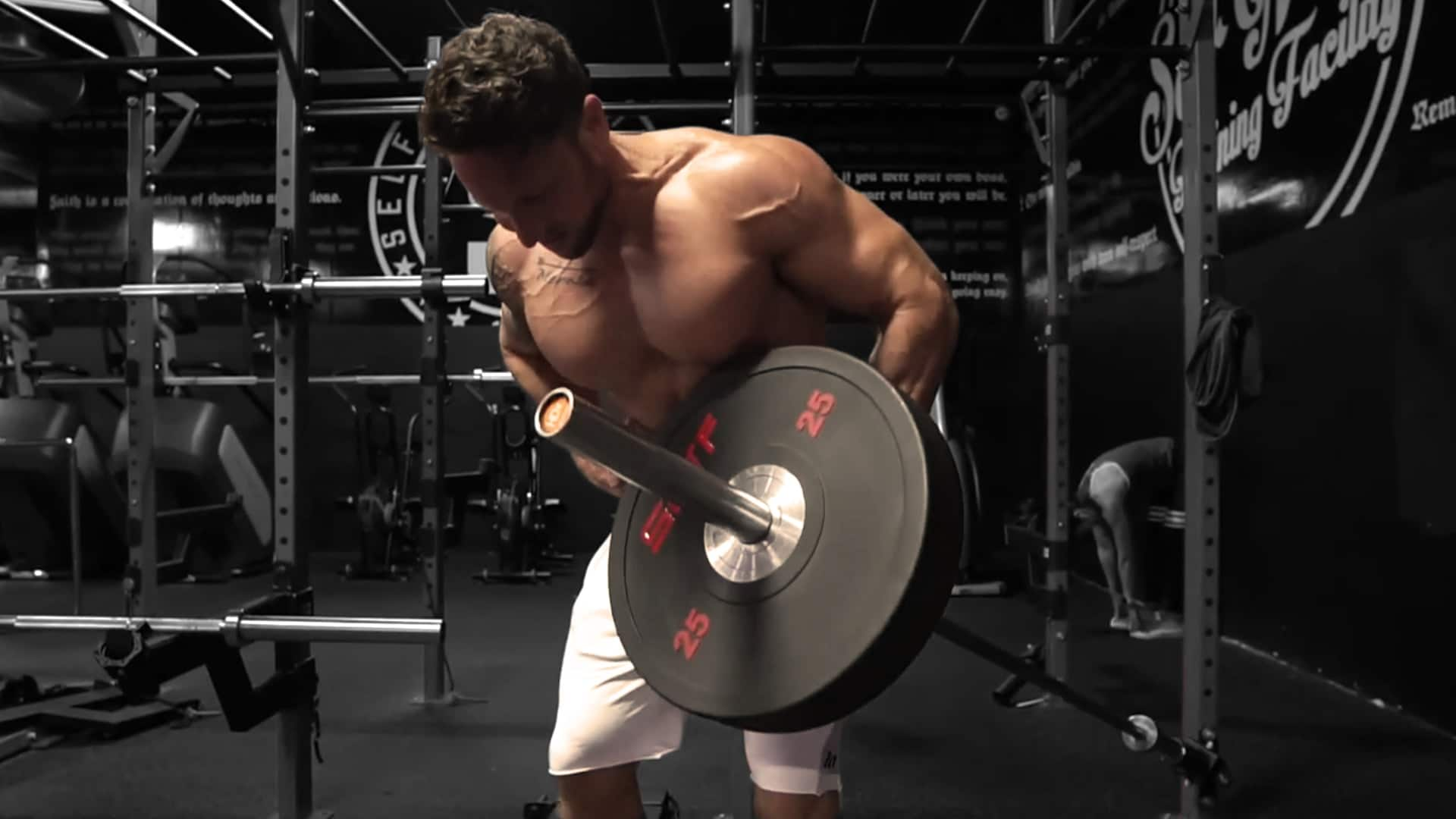 Troy one arm barbell row