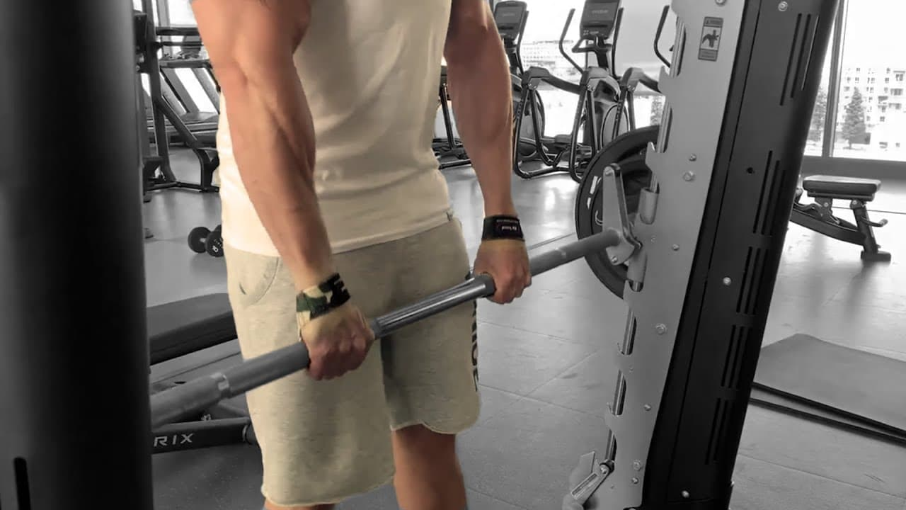 Smith machine workout barbell row