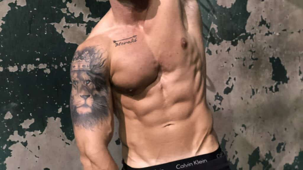 Troy Adashun showing off his lower abs