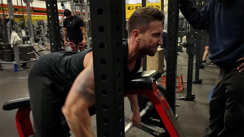 Troy performing a chest supported row with correct form