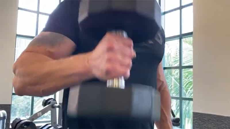 Troy doing dumbbell hammer curls with correct elbow position
