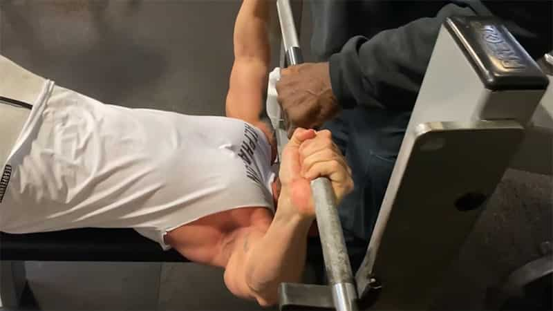 Troy finishing a decline barbell bench press
