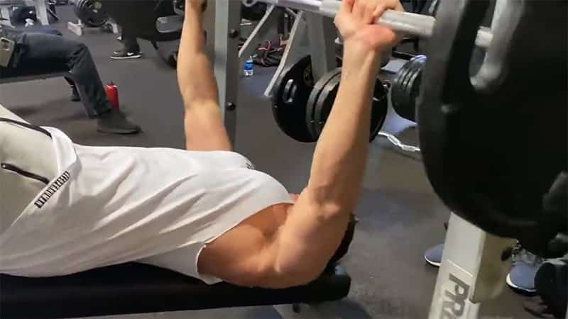 Troy performing a decline barbell bench press