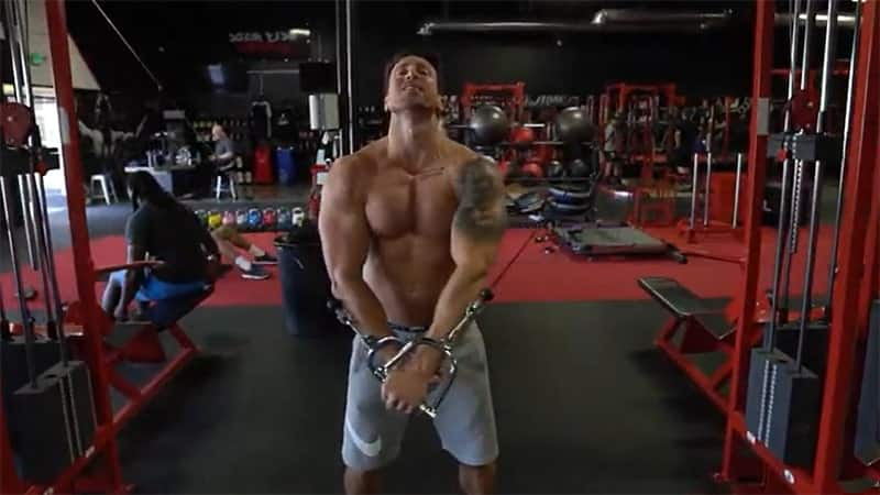 Troy using the cable machine at the gym
